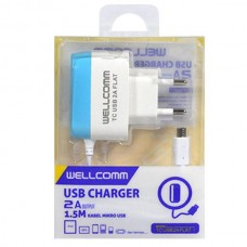 TRAVEL CHARGER MURAH USB FLAT MICRO 2 AMPERE WELLCOMM